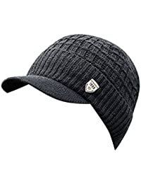 f1da233ad597 Rameng- Chapeau Casquette Homme Knit Cap Tricoté Chapeaux Bonnet Hiver  Beanie Hats