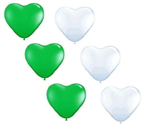 Große Grüne (50 große Herzballons grün und weiß Luft und Ballongas geeignet)
