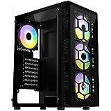 كيسة كمبيوتر ميد تاور CG73 للالعاب بتصميم سداسي مزودة بـ 4 مراوح بلون قوس قزح بنظام الفضاء اللوني ار جي بي من فانتيك- زجاج مق