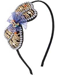 Uxcell Women Faceted Beads Decor Bowtie Ornament Hair Hoop Band, Gold Tone, 0.05 Pound