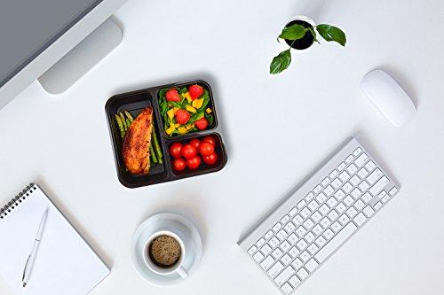|10 pack| 3 fach Meal Prep Container. Frischhaltedosen Bento-Box Set mit Deckel. Spülmaschine, Mikrowelle, Gefrierschrank safe. BPA-frei Frishchalteboxen aus Kunststoff mit Trennwände [1L] - 7