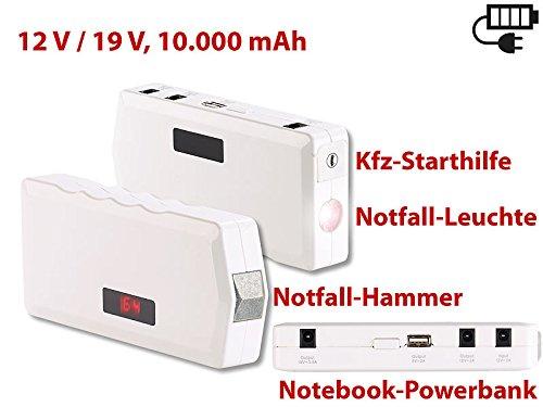 Preisvergleich Produktbild Notebook Powerbank mit Notfall-Hammer, Kfz-Starthilfe , 10.000 mAh/400 A