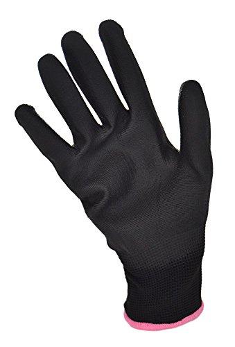 12 Paar Nylon Feinstrick Handschuhe Arbeitshandschuhe PU-beschichtet (7 / S, schwarz)