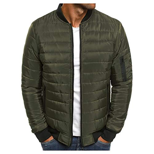 CuteRose Mens Stripes Classic Full-Zip Ultra Light Weight Quilted Down Parka Army Green XS Quilted Down Parka