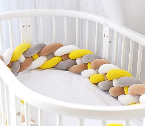 EXQULEG 220cm Baby 4 Weben Bettumrandung Nestchen Stoßstang Kantenschutz Kopfschutz für Babybett Bettausstattung Kinderbett (Grau+weiß+Gelb+Braun)