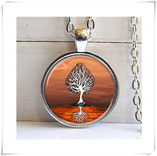 Burning Bernstein Baum Anhänger-Skurril Baum Art Anhänger-Silber und Glas Halskette