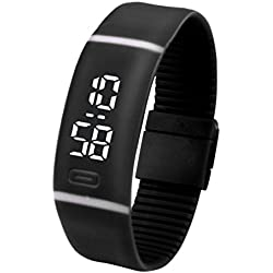 JACKY Rubber LED Watch Bracelet Digital Wrist Watch Black