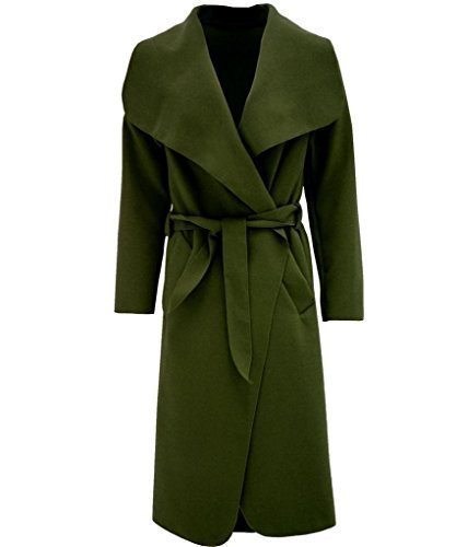 Damen Mantel Kim Kardashian Übergroße Wasserfall Jacke Mit Gürtel Neu - Eine Größe, Khaki