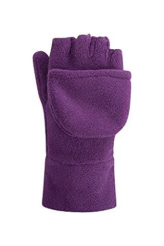 Mountain Warehouse Fingerless Fleece Kids Mitten - Convertible Design, Soft Fleece Fabric for Warm with Elasticised Band - Perfect for Kids Hand Warm & Comfortable Purple Small / Medium