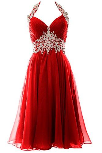 MACloth Women Halter Short Applique Homecoming Wedding Party Cocktail Dress (EU44, Red)