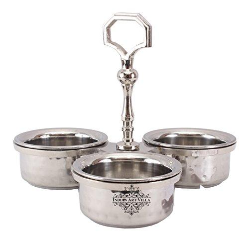 IndianArtVilla Steel Condiment Pickel Set of 3 Bowls|For Serving Vegetables Dishes Hotel Restaurant