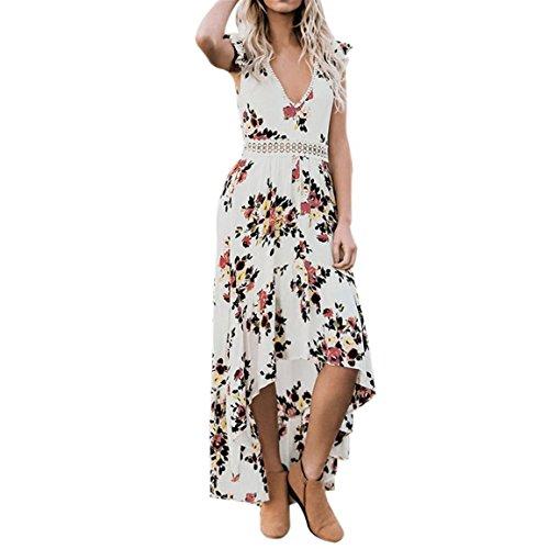 Moonuy Frauen Backless Sommerkleid Vintage Floral Flower Tiefem V-Ausschnitt Knöchellangen Asymmetrical Lace Elegant Slim Dress (EU 38/Asien L, Weiß) -