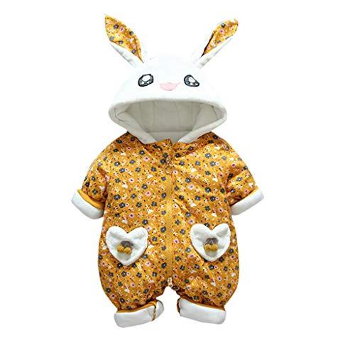 Livoral Neugeborenes Kleinkind Baby Mädchen mit Kapuze schöne Strampler Overall verdickt Outfit Kleidung(Gelb,5-10 Monate)