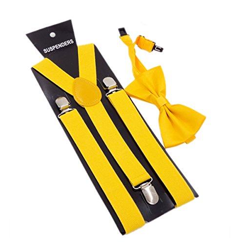 Panegy Herren Hosenträger Y-Form Stil 3 Stabile Clips 2.5cm Breite Elastische Männer Fliege Business Hosenträger mit Leder Längenverstellbar - Gelb (Fliegen, Zug)