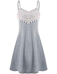 LeeY Damen Beiläufig Häkeln Spitze Unterhose Minikleid Mode Ärmellos Spitze  Patchwrok Kleid Sexy Rückenfrei Riemen Kleid a874c2ca3b