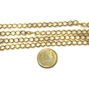 Beadsnfashion Jewellery Making Metal Chain Golden, length 1 Mtr, link size 5mm