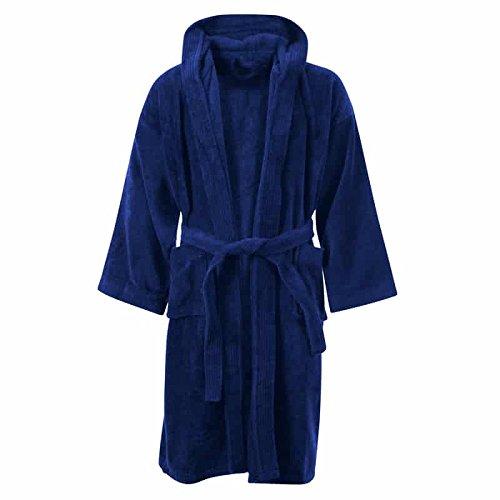 Kids Boys Girls Bathrobe 100% Egyptian Cotton Luxury Velour Towelling Hooded Dressing Gown Soft Fine Comfortable Nightwear Terry Towel Bath Robe Lounge Wear Housecoat 6-14 Years