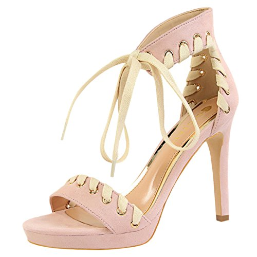 Azbro Women's Peep Toe Platform Ankle Strap Lace-up Stiletto Sandals Pink