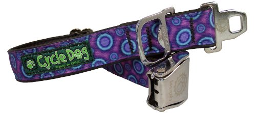 cycle-dog-bottle-opener-recycled-dog-collar-with-seatbelt-metal-buckle-purple-space-dots-medium