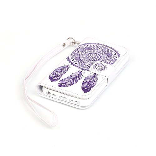 Für iPhone SE Strap Lanyard Tasche Hülle,Funyye Für iPhone 5S Wallet Leder Flip Schutzhülle Zubehör,Book Style Retro [Blume Schmetterling Muster] PU Leder Wallet Case Diamant Bling Strass Leder Handyh Campanula #5