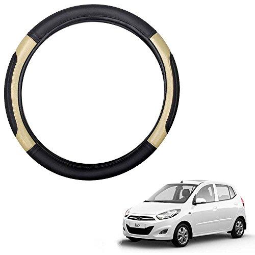 Vheelocityin Black and Beige Car Steering Cover for Hyundai i10 / Hyundai i10 Steering Wheel Cover