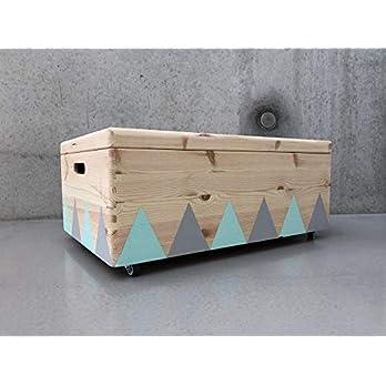 Holz Spielzeugkiste Grau/Mint – Rollen Triangel skandinavisch mit Deckel – Groß
