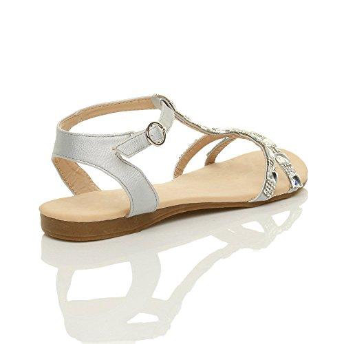 Femmes plat salomé strass sangle de cheville lanières été sandales pointure Argent