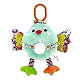 Baby Kinderwagen Spielzeug Spieltier Motorikspielzeug zum Aufhängen mit Spieluhr Geräuschpapier und BB-Gerät zum Greifen und spielen für Babys und Kleinkinder ab 0 Monat, Grün Vogel