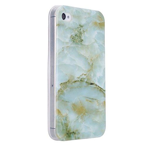 Etsue pour [ iPhone 4/4S ] Doux Protecteur Coque,TPU Matériau Frame est Transparent Soft Cover pour iPhone 4/4S,Marbre Motif par Dessin de Mode Case Coque pour iPhone 4/4S + 1 x Bleu stylet + 1 x Blin Vert