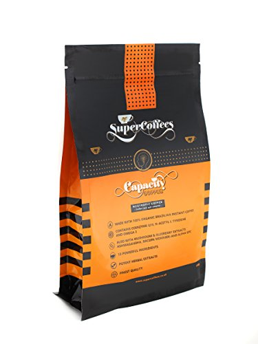 CAPACITY COFFEE Nootropic, Brain Boosting Coffee by SuperCoffees| Blend of 12 Potent Scientifically Selected Natural Superfoods, Adaptogens, Amino Acids, Omega 3 and Mushroom Extracts. | 100% MONEY BACK GUARANTEE 41pMWFjvezL