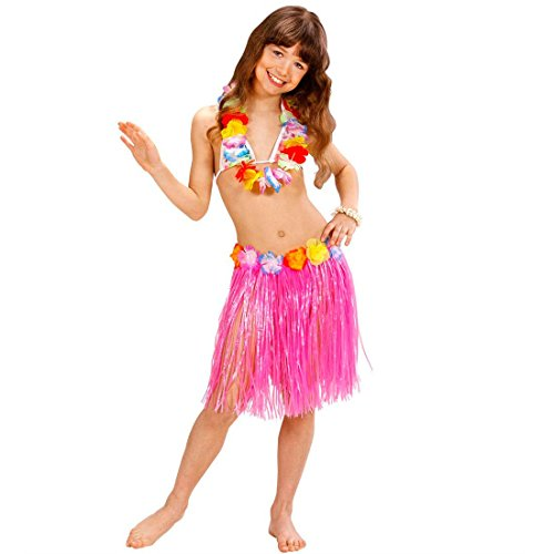 NET TOYS Kinder Hula Rock Hawaii Bastrock rosa Hawaiirock Aloha Partyrock Honolulu Bekleidung Mottoparty Kostüm Zubehör Verkleidung Outfit Fasching (Hula Kostüm Zubehör)