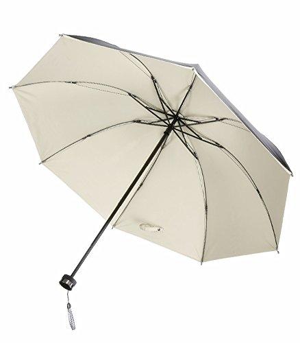 Honeystore Regenschirm, Automatik Taschenschirm Einfarbig UV-Schutz Sonnnenschirm (92 cm Durchmesser) Beige