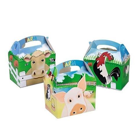 Partyrama Lot de 20Boîtes en carton Motif de ferme pour repas/ fêtes d'anniversaire enfants