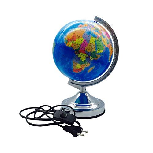 LEDMOMO World Map Table Lamp 20CM World Globe Light Diameter Versión en inglés Base de metal Luz variable con cuatro modos