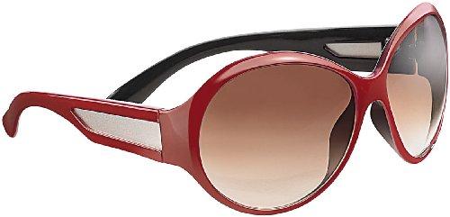 PEARL Sonnenbrille für Lady: Butterfly-Sonnenbrille mit braunen Gläsern, dunkelrot (Retro-Sonnenbrille für ()