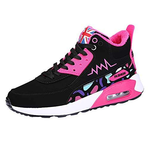 WWricotta Damen Laufschuhe,Freizeitschuhe, Luftkissen, Basketballschuhe Sneakers Schnürstiefelette Turnschuhe Outdoor Turnschuhe Sportschuhe(Pink,36)