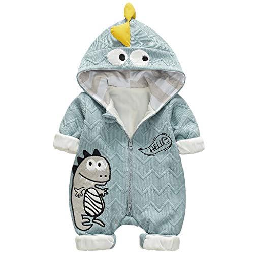 Baby Jungen Mädchen Overall Dinosaurier Strampler mit Kapuze Langarm Spielanzug Kleinkind Spieler Baumwolle Schlafanzug Jumpsuit Babykleidung