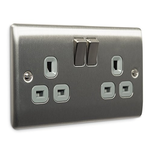 masterplug-nbs22g-13-a-2-gang-metal-brushed-steel-double-pole-switched-socket-grey-insert