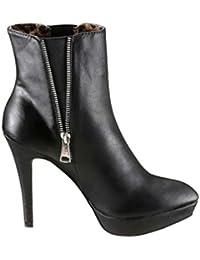 Melrose Damen Schuhe Stiefel mit Steinen Schwarz Größe 40