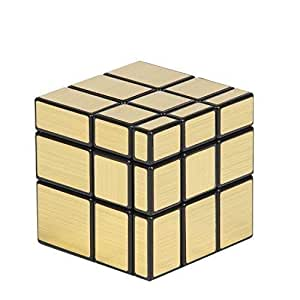 TEC TAVAKKAL Magic Cube Set Fluctuation Angle Puzzle Cube Skewb Speed Magic Cube Puzzle 3x3x3 Mirror Magic Cube Toys-Golden and Silver