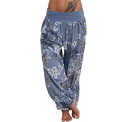 YWLINK Damen Kleidung,Frauen BeiläUfige Druck Hosen Weites Bein Keucht Lose Taschen-Knopf Pluderhosen