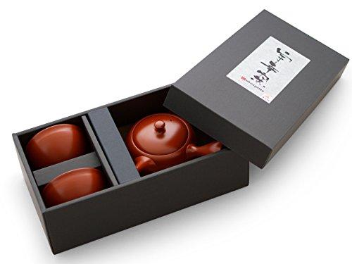 Original japanische Teekanne, Kyusu, mit 2 Becher: Shudei Kyogata. Integriertes Tee-Sieb aus Edelstahl. Echt japanisches Tee-Set aus natürlichem Tokoname-Ton in schöner Geschenk-Box