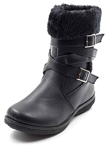 Simply Petals Girls Fur Trim Strappy Buckle Boots (Little Girl/Big Girl)