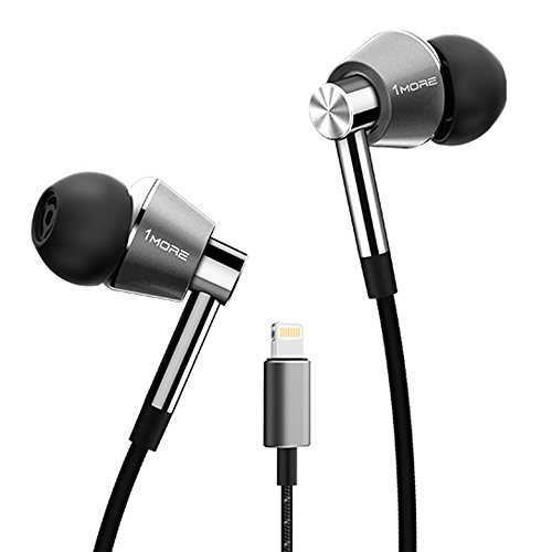 1MORE Triple Driver Lightning Earphones With In-built DAC, MIC & Volume MIC & Volume Rockers - Titanium
