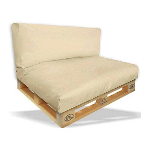 Palettenkissen 2er Set - Sitzpolster 120x80x15cm + Rückenkissen 120x40x10cm Farbe Beige/C