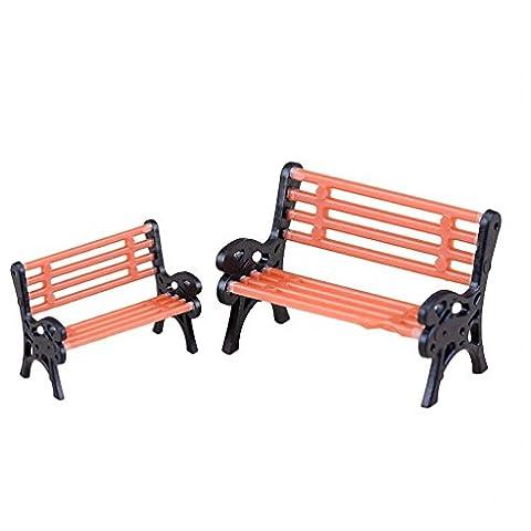 chendongdong 2x DIY Banco de parque en miniatura de jardín silla Dollhouse Muebles Aire libre Decoración