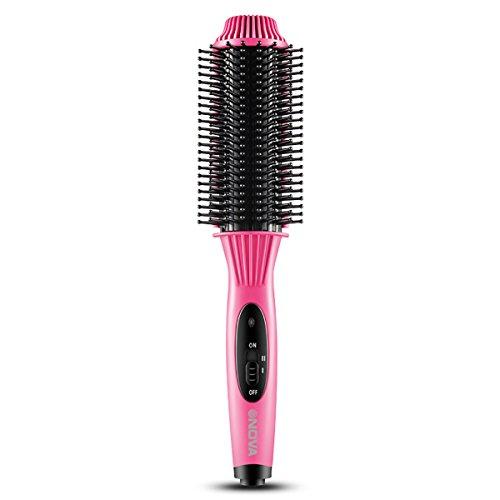 Besmall Multifunktions Haarbürste Haarglätter Lockendreher Elektrische Haarbürste Warmluftbürste(Rosa) (Elektrischer Haar-lockenwickler-bürste)