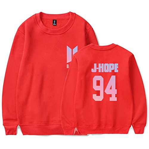 SIMYJOY Amants KPOP Pulls BTS Ventilateurs Sweat Collège Hip Hop Sweat Shirt Pour Hommes Femmes Adolescents rouge J-hope 94