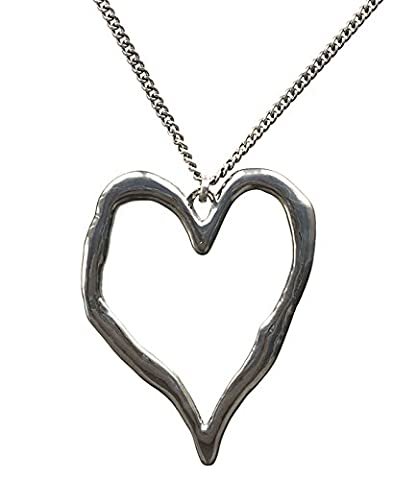 Large Silver Plated Chunky Heart Pendant and Long Chain Costume Jewellery Necklace