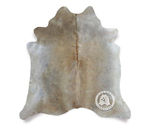 Sunshine Cowhides Teppich Kuhfell grau beige 180x 210cm–Premium Qualität von Fellen DEL SOL